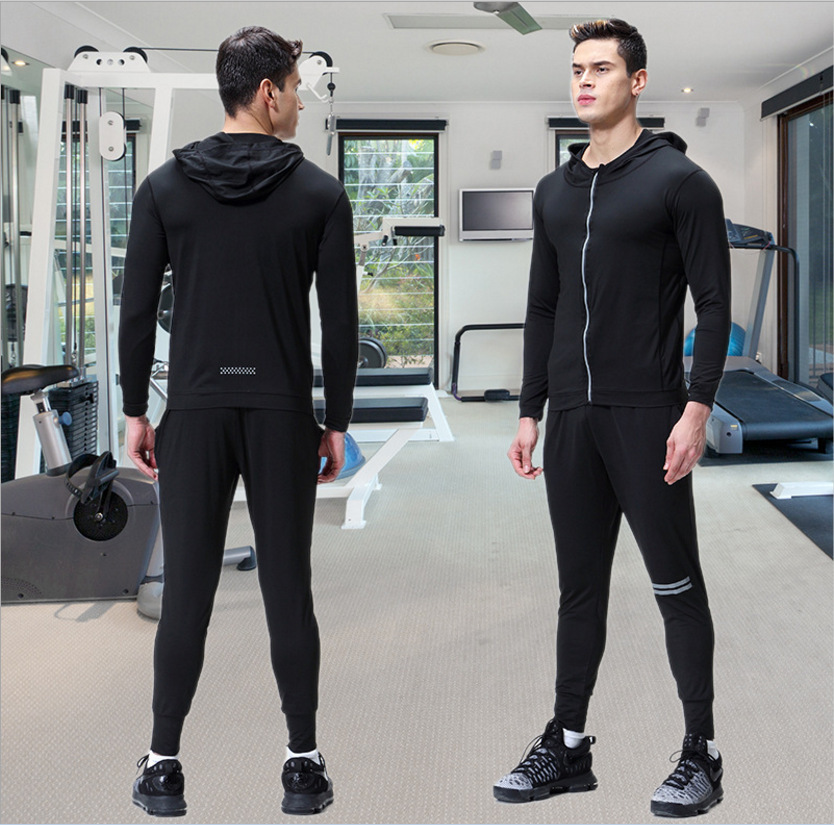 Leisure Sports Suit Men Quick-Dry Training Workout Clothes Long Sleeve Hooded Europe And America Running Sports