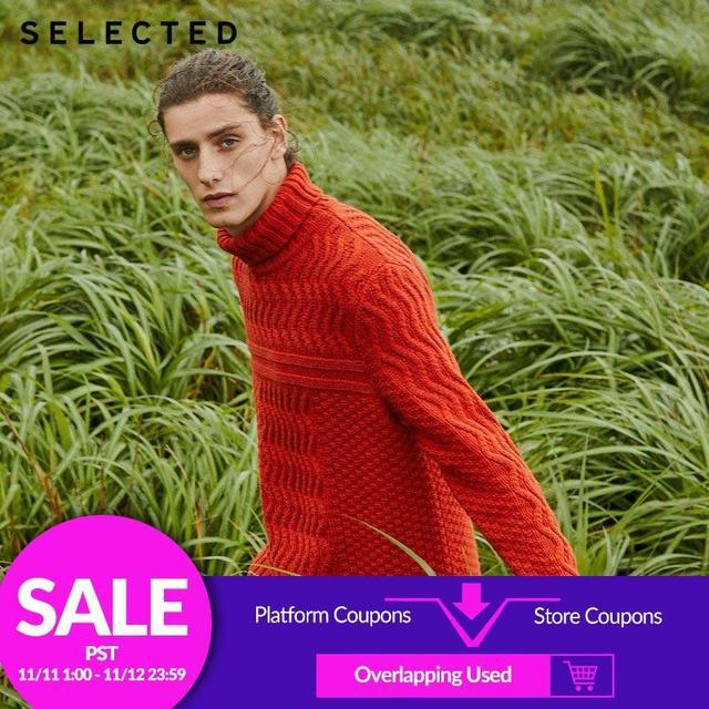 Wybrane męskie zimowe wysokiej szyjką sweter nowy wełniany dzianinowy z golfem sweter ubrania L