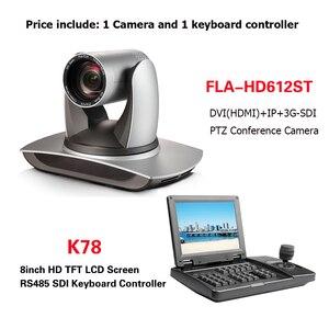 Image 1 - כנס ציוד ערכות 12X זום PTZ מצלמה שידור DVI SDI IP מצלמה עם 8 אינץ TFT LCD rs232 RS485 ptz בקר