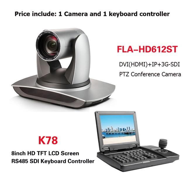 会議機器キット 12Xズームptzカメラ放送dvi sdi ipカメラと 8 インチtft液晶rs232 RS485 ptzコントローラ