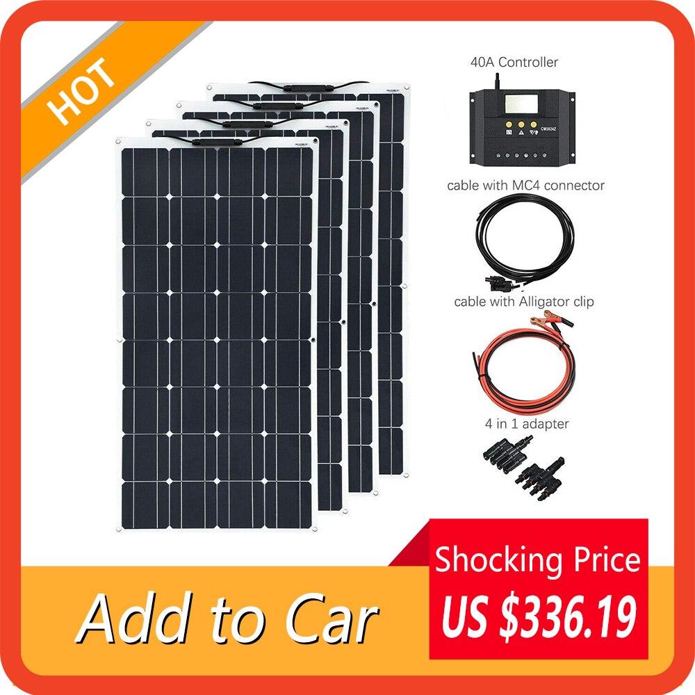Xinduguang 400W Panel Solar Flexible 4x100 Kits de sistema módulo Solar monocristalino celda 40A controlador de cargador Solar para coche RV