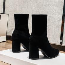 Женская обувь; Флокированные ботильоны на высоком массивном