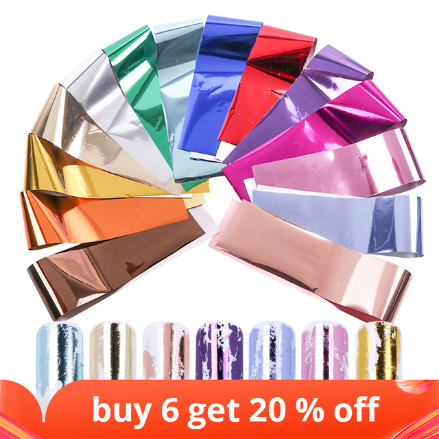 14pc or 1 pc Metal Transfer Foil for Nail Art Laser Mirror Effect Charm Nail Foil Sticker Decal Manicure Accessories LA996 2