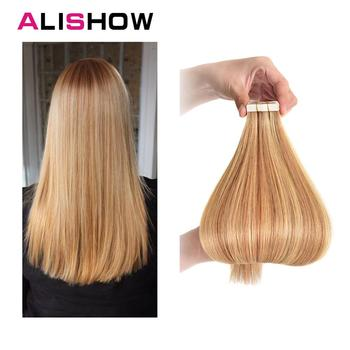 Alishow Tape In Remy Human Hair Extensions Double Drawn Hair Straight Invisible Skin Weft PU Tape On Hair Extensions isheeny remy human hair tape extensions straight 12 22 skin weft seamless hair extension samples for salon hair testing