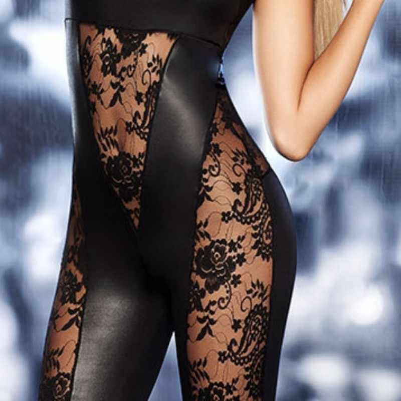 Euro Neue Spitze Floral Design Backless Frauen Strampler Splice Mode Schwarz Nachtclub Ärmelloses Atmungs Transparente Overalls