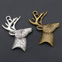 Deer Head Pendant, Antique silver/bronze Charms, Antler Animal Charm, Nature Lover, Jewelry Making Findings A286 4pcs