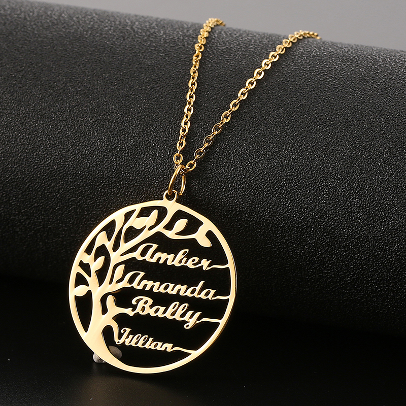 Personalize Custom Name Necklace Tree of Life Pendant Friendship Chain Necklace Jewelry Best Friend Gift