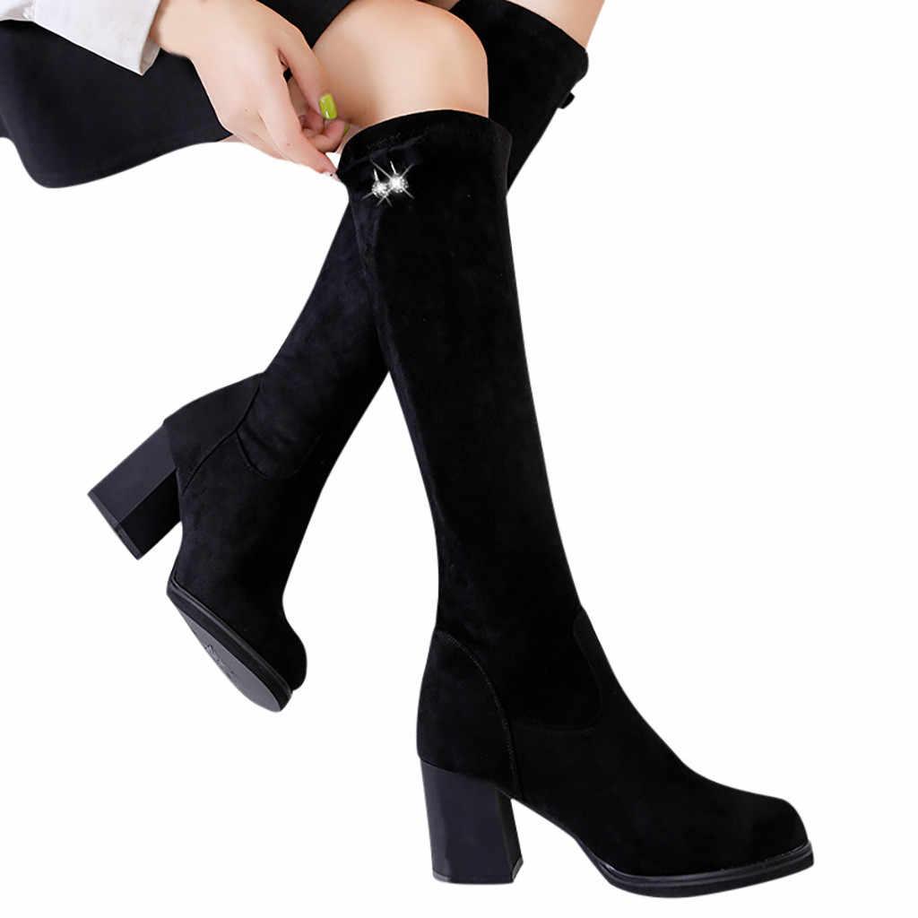 Chunky Hakken Vintage Vrouwen Laarzen Over De Knie Hoge Strakke Vrouwen Laarzen Mode Pure Kleur Zwart Ronde Neus Slip- op dame schoenen