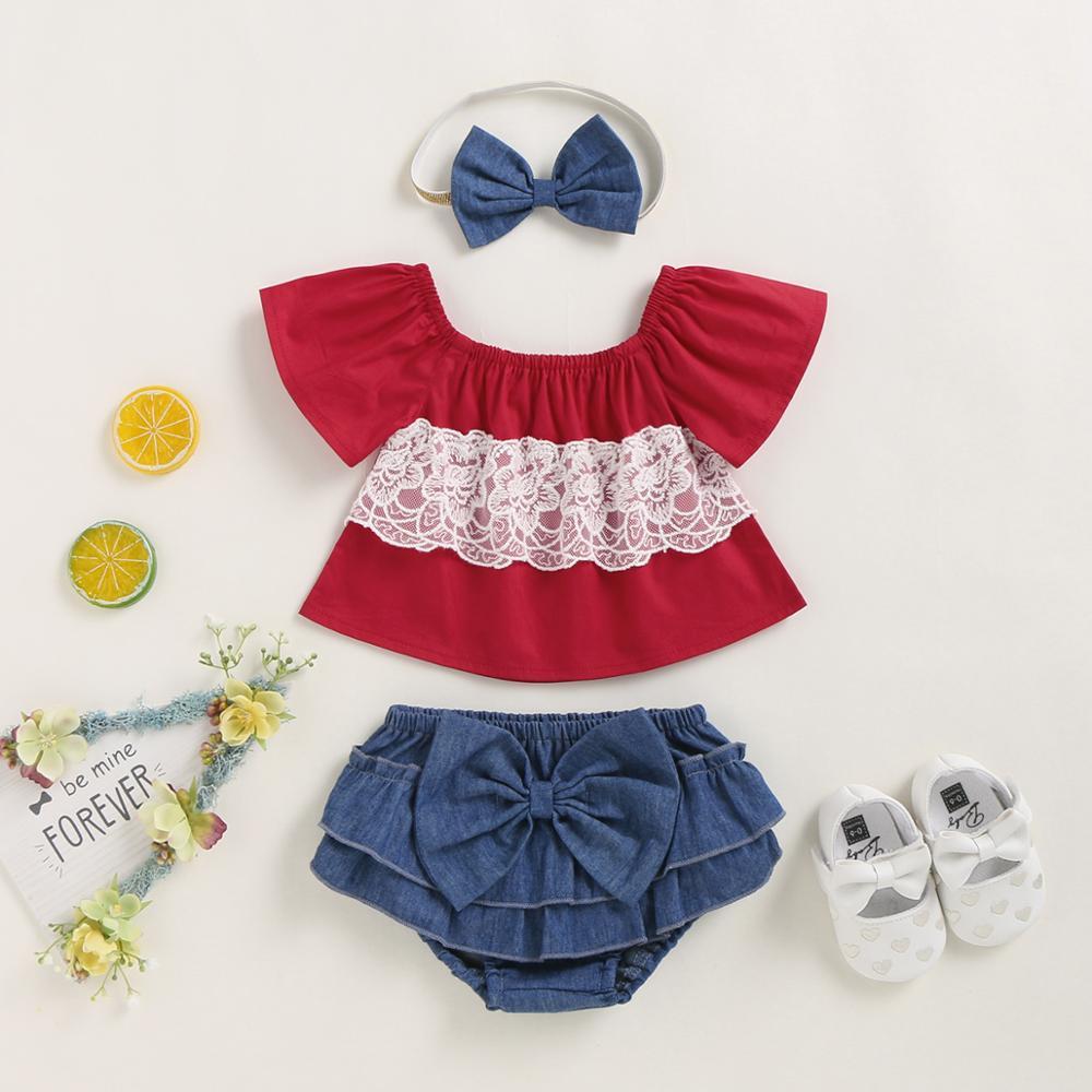 Аксессуары для новорожденных, подарочный набор, красный топ с коротким рукавом для маленьких девочек и джинсовые шорты, повязка на голову, б...
