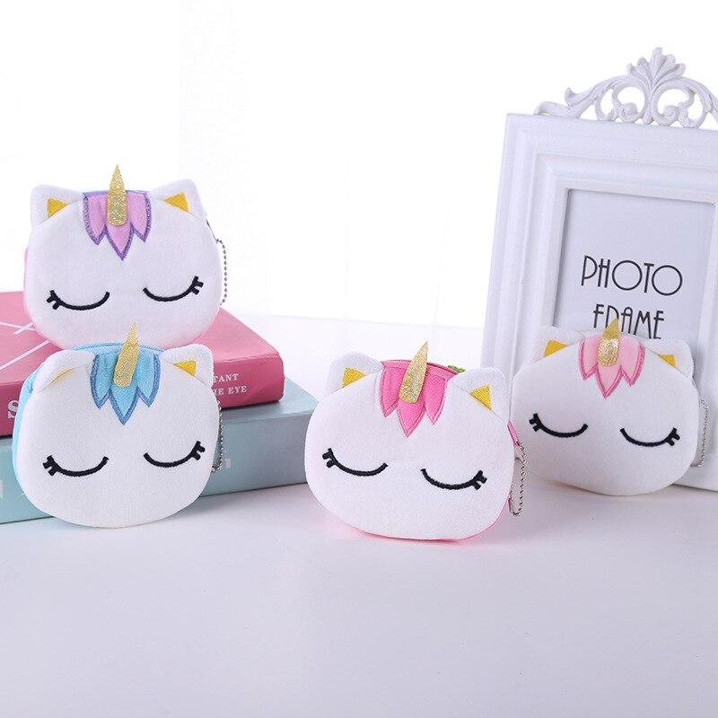 Kawaii Cartoon Unicorn Mini Coin Storage Bag Children Cartoon Plush Headphones Data Cable Small Coin Purse Christmas Toys