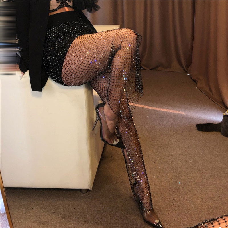 New Crystal Diamond Shiny Women Pants Summer Sexy Hollow Out Elastic Fishnet Trousers Fashion See Through Beachwear Pant