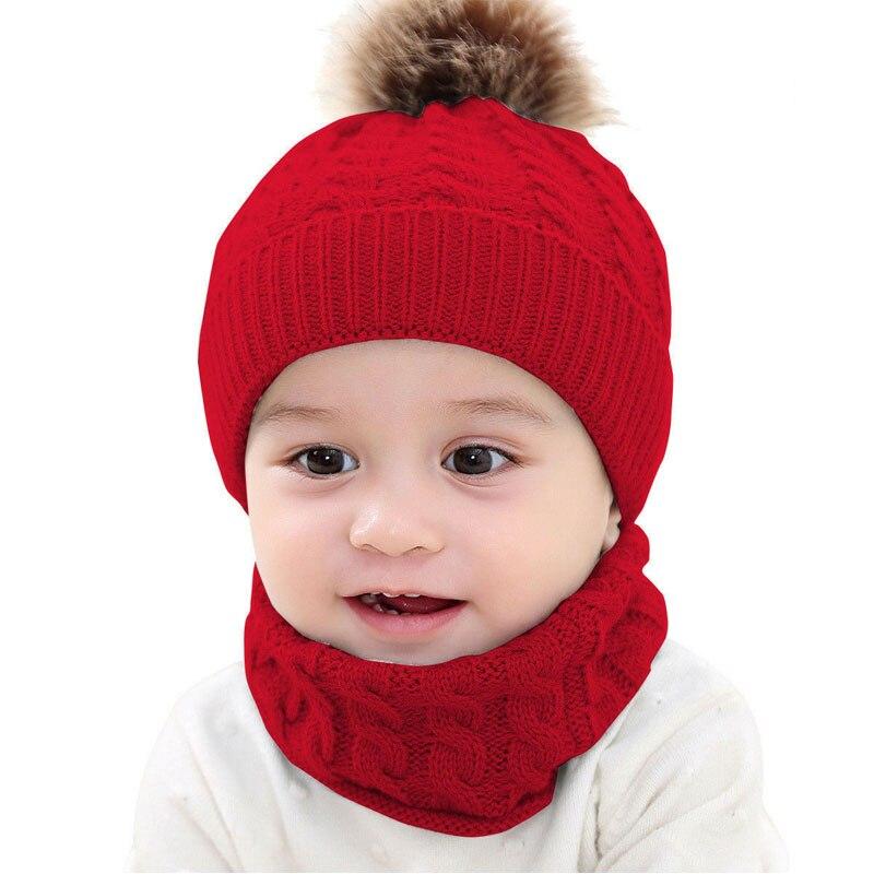 Meihuida 2PCS Newborn Baby Boy Girl Winter Soft Warm Fur Pom Bobble Knit Beanie Hat Caps Scarf Scarves Outdoor Activity Wear