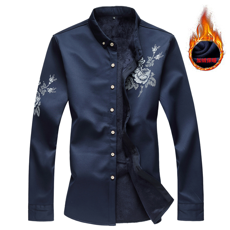 2019 Winter Men Shirt Long Sleeve Solid Floral Button Down Shirts Men Thick Warm Large Size 7XL 6XL Social Shirts Men Clothing