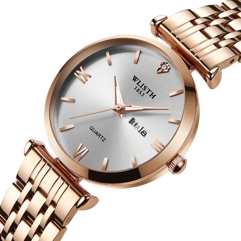 Wlisth Sports Luminous Men Women Week Calendar Display Waterproof Stainless Steel Strap Belt Quartz Lover Couple Wrist Watch