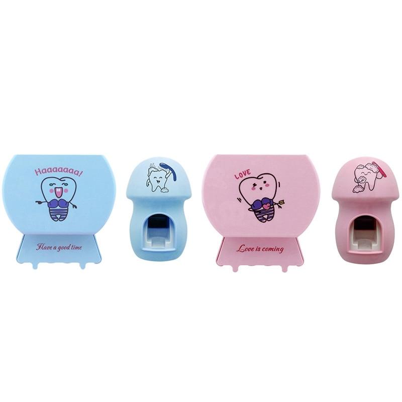 Espremedores de Esterilizador escova de dentes Escova de Dentes Titular Creme Dental Automático Dispensador de Casa Conjunto de Banheiro Rosa