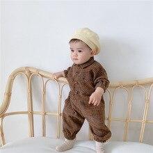 Baby Boys Overalls Newborn Plaid Bodysuit Infant Girls Cotton Romper Toddler Cotton Long Sleeve Jumpsuit Playsuit Babies Outfits