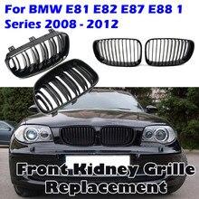 Автомобильный решетчатый гриль с двойной пластиной, черный спортивный гоночный гриль, подходит для BMW 1-Series E81 E82 E87 E88 2007-2012, детали автомобиль...
