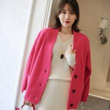 Cashmere Cardigan Women Thicken Loose Lazy Wind Cashmere Sweater Jacket Women Korean Cardigan Loose Knit Cardigan Full sleeve