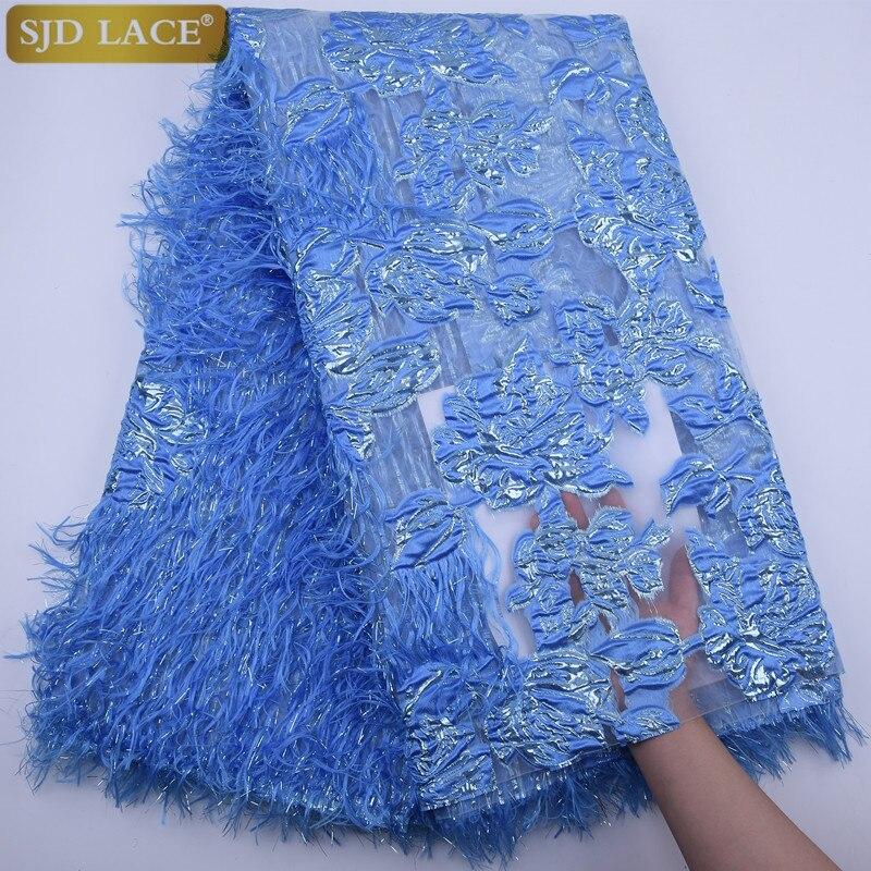 SJD dentelle nouveau africain français maille dentelle tissu avec plumes moelleuses nigérian Net dentelle tissu broderie dentelle pour robe de soirée A1789