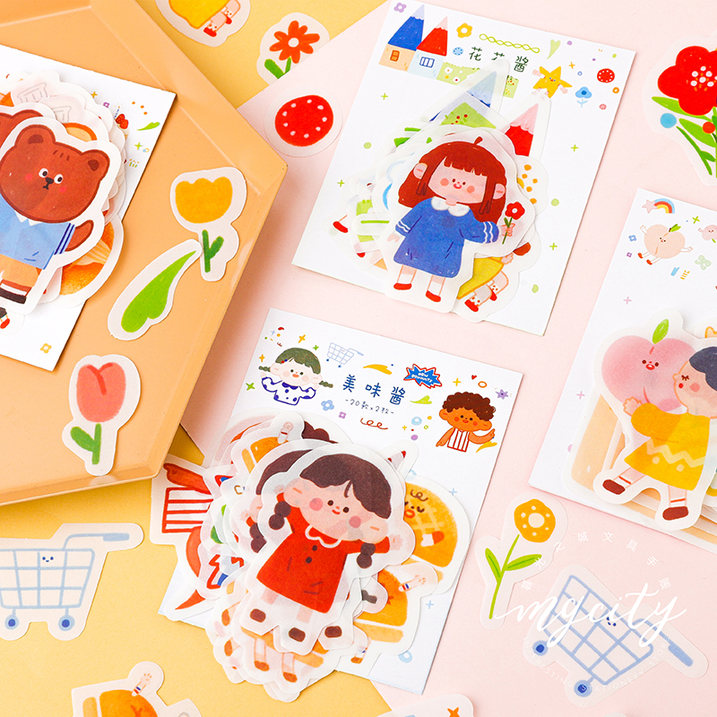 Mohamm 40 Sheets Sweet Cream Sauce Series Japanese Stationery Kawaii Girl Washi Sticker Handbook School Supplies