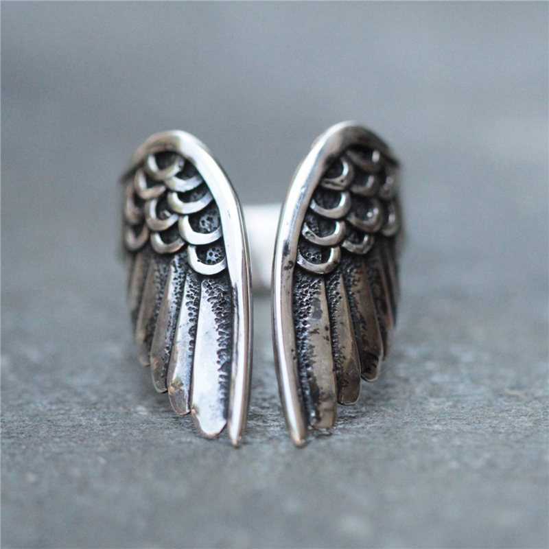 925 Silver Color Wing Ring for Women Vintage Hip-hop Silver Black Angel Wing Opening Gemstone Silver 925 Jewelry Ring for Girl