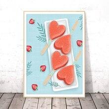 Картина на холсте фруктовый принт свежий рисунок постер для