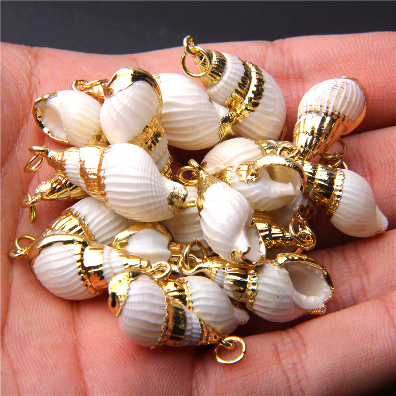 4pcs 13.5*32.5mm White Natural Sea Shell Charm Tiny Conch Cowrie Shells Beads For Women Men DIY Jewelry Making Necklace Bracelet