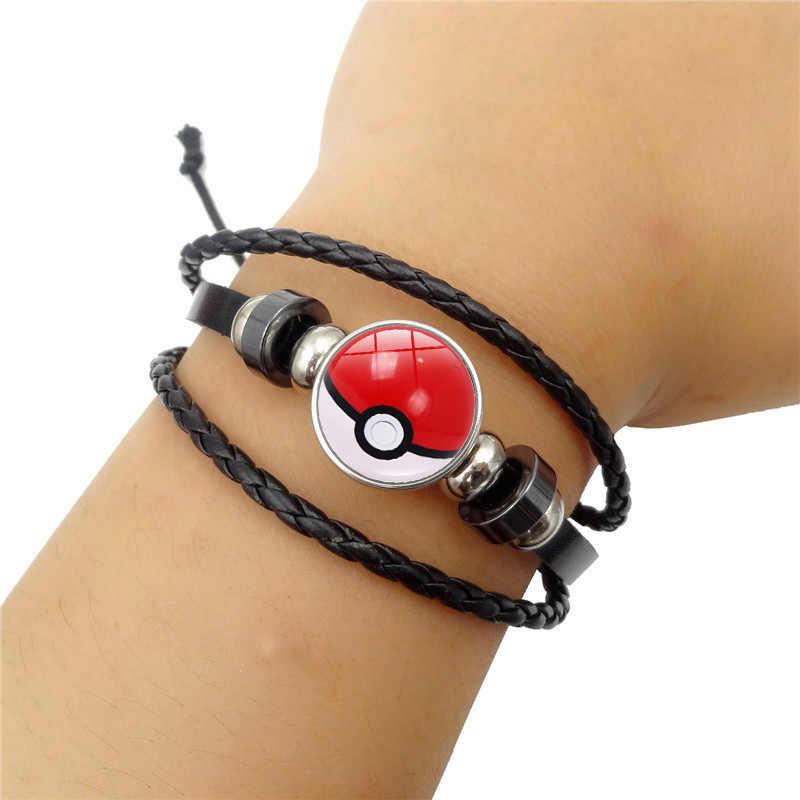 อะนิเมะ Pokemon Poke Ball สร้อยข้อมือคอสเพลย์ Pokemon Go เวลาอัญมณี Cabochon สายรัดข้อมือโลหะ