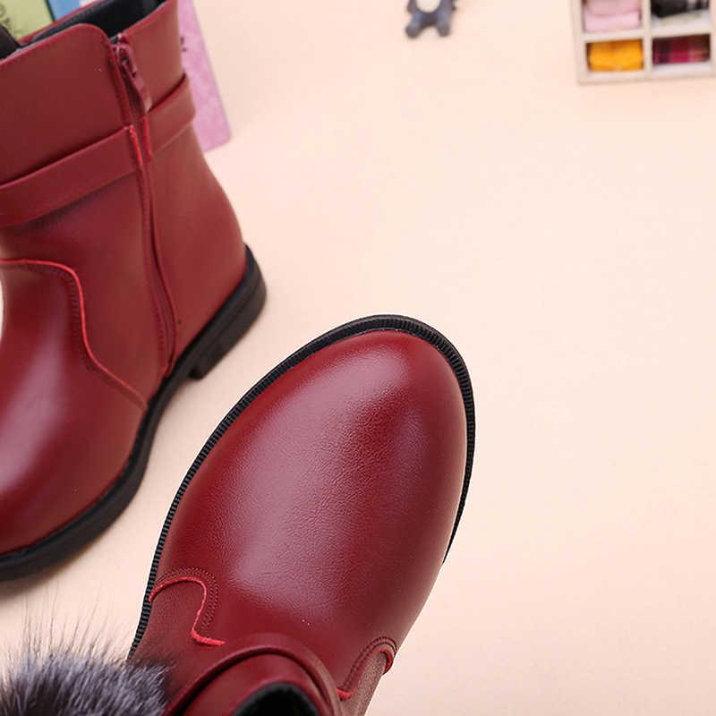 Pom Ball Cartoon Mädchen Kurze Stiefel Slip-beständig Baumwolle Winter Stiefel Schwarz Rot Flache Kleid Schuhe 27-38 kinder Prinzessin Stiefeletten