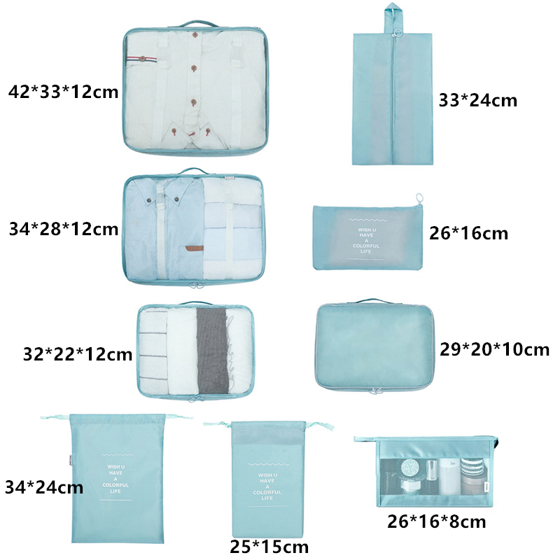 New 9-Piece Set Clothes Underwear Cosmetic Storage Bag Luggage Travel Bag Packing Cube Suit Shoes Organizer Wash Bags Makeup Bag