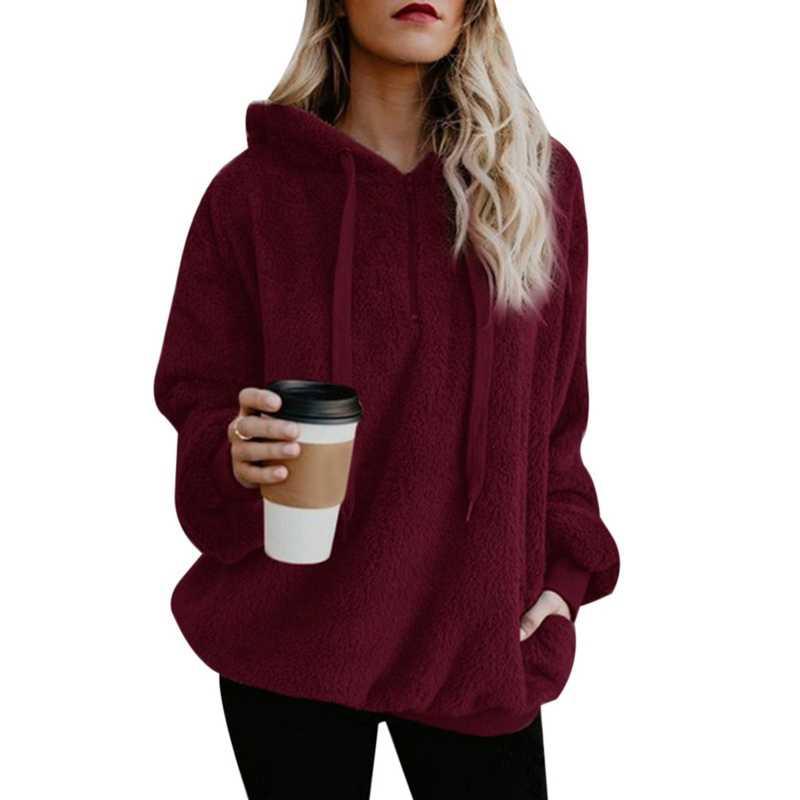 MJARTORIA ผู้หญิงขนแกะ Hoodies 2018 แขนยาว Hooded Pullover Sweatshirt ฤดูใบไม้ร่วงฤดูหนาว WARM Zipper FUR Coat PLUS ขนาด
