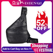 Dienqi homens viagem saco fino de couro do vintage equipamento peito tático saco coldre anti roubo cinta segurança armazenamento cintura crossbody sacos