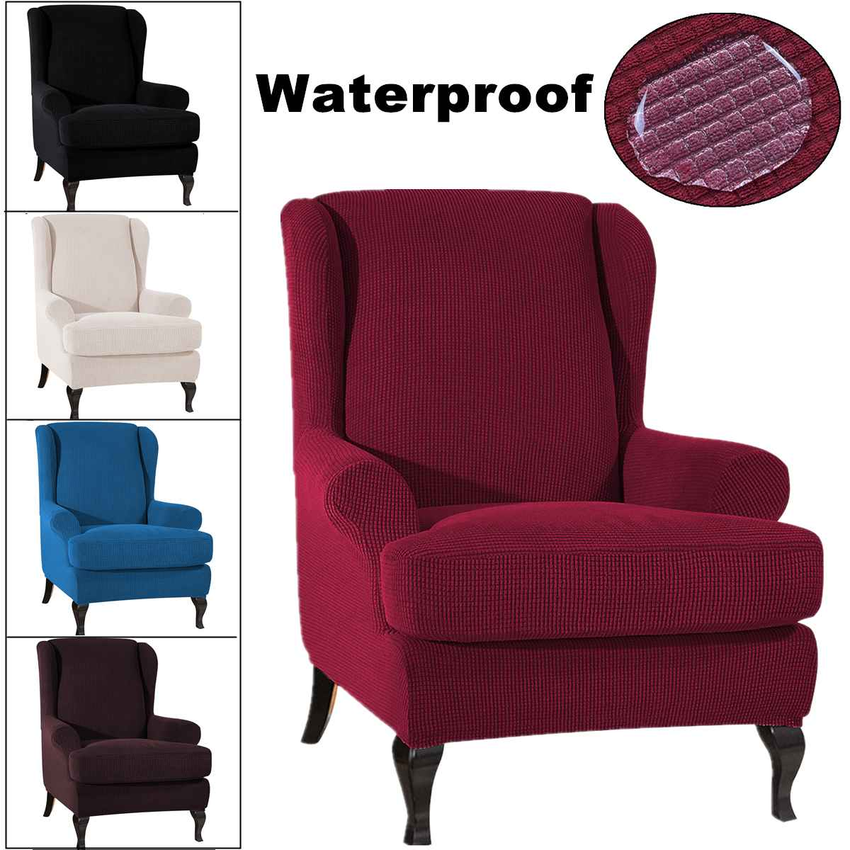 Sloping Arm King Back Chair Cover Elastic Armchair Wingback