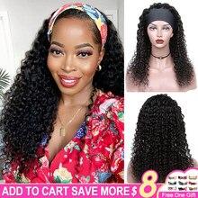 Deep Wave Headband Wig Human Hair Wigs For Black Women Glueless Brazilian Deep Cury Grip Headband Remy Human Hair Half Wig