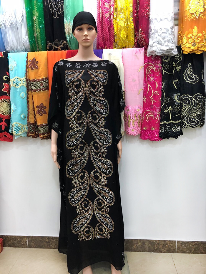New African Women Dresses Colorful Rhinestons Long Dashiki Black Dress With Scarf For Lady African Clothes 123#