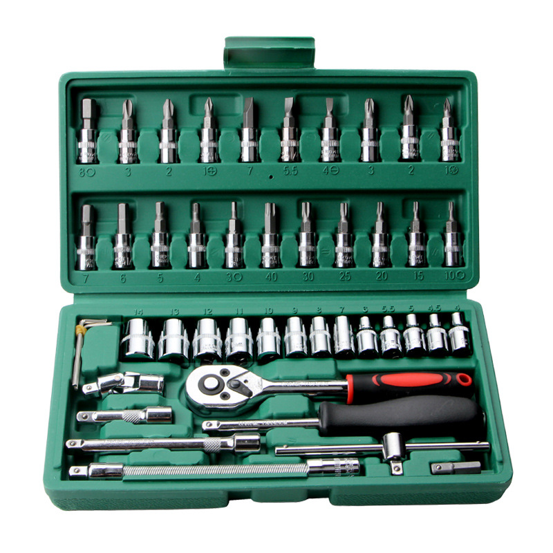Hot Professional 46pcs Spanner Socket Set 1/4 Inch Screwdriver Ratchet Wrench Set Kit Car Repair Tools Combination Hand Tool