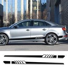 2 uds coche puerta lado falda etiqueta para Audi A4 B5 B6 B7 B8 B9 A3 8P 8V 8L A6 C6 C5 C7 4F A5 A1 8X A7 A8 Q5 Q7 Q3 Q1 TT Accesorios