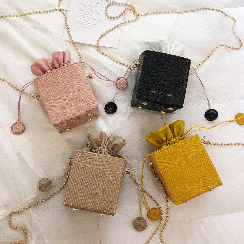 Nouveau mode cordon seau femmes sacs à Main sacs petit rabat dames sacs à Main boîte forme Crossbody sacs pour femmes 2019 Sac A Main