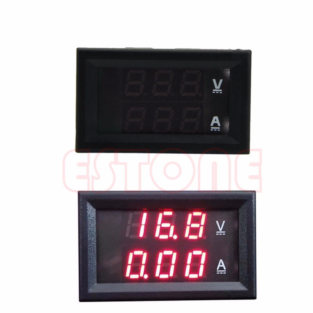 <font><b>DC</b></font> <font><b>100V</b></font> <font><b>50A</b></font> <font><b>Dual</b></font> <font><b>Digital</b></font> Voltmeter Ammeter Red <font><b>LED</b></font> Amp Volt Meter+Current Shunt New image