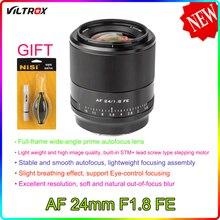 Viltrox 24mm f1.8 fe prime lente quadro completo fe sony e montagem para sony moldura completa APS-C câmera a6600 a6500 a6400 a7riv a7riii a9 a7