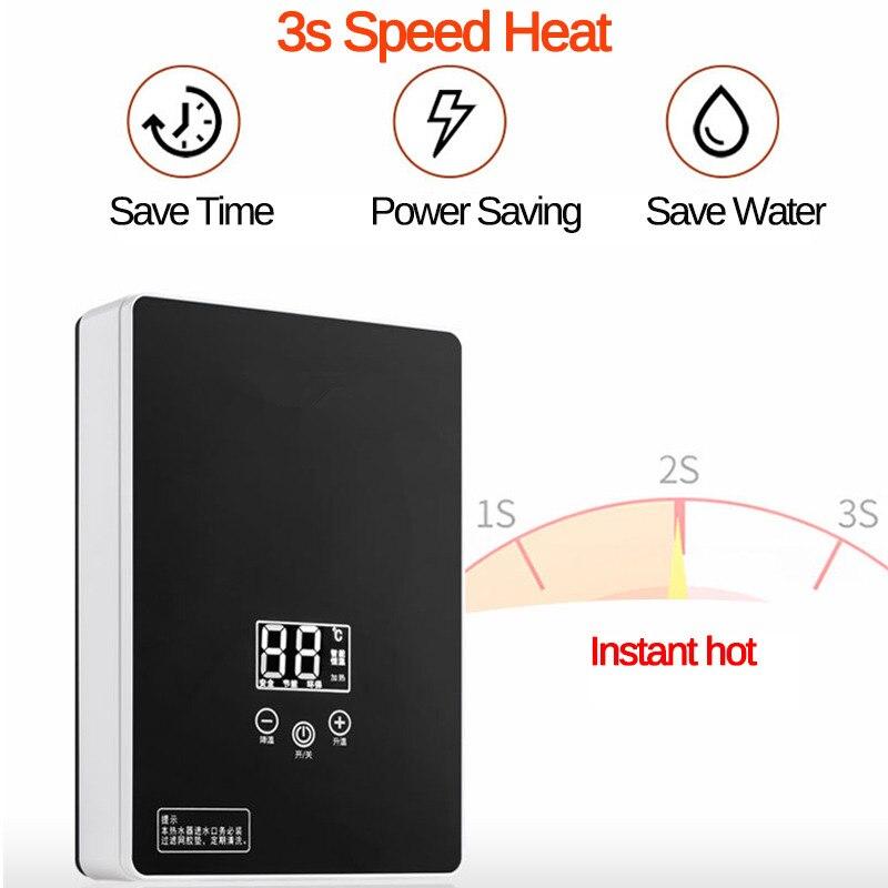 Cactus Humedades Empresa control de humedades Calentador de agua eléctrico instantáneo, sin tanque de 6000W 220V, ducha caliente rápida en 3 segundos.