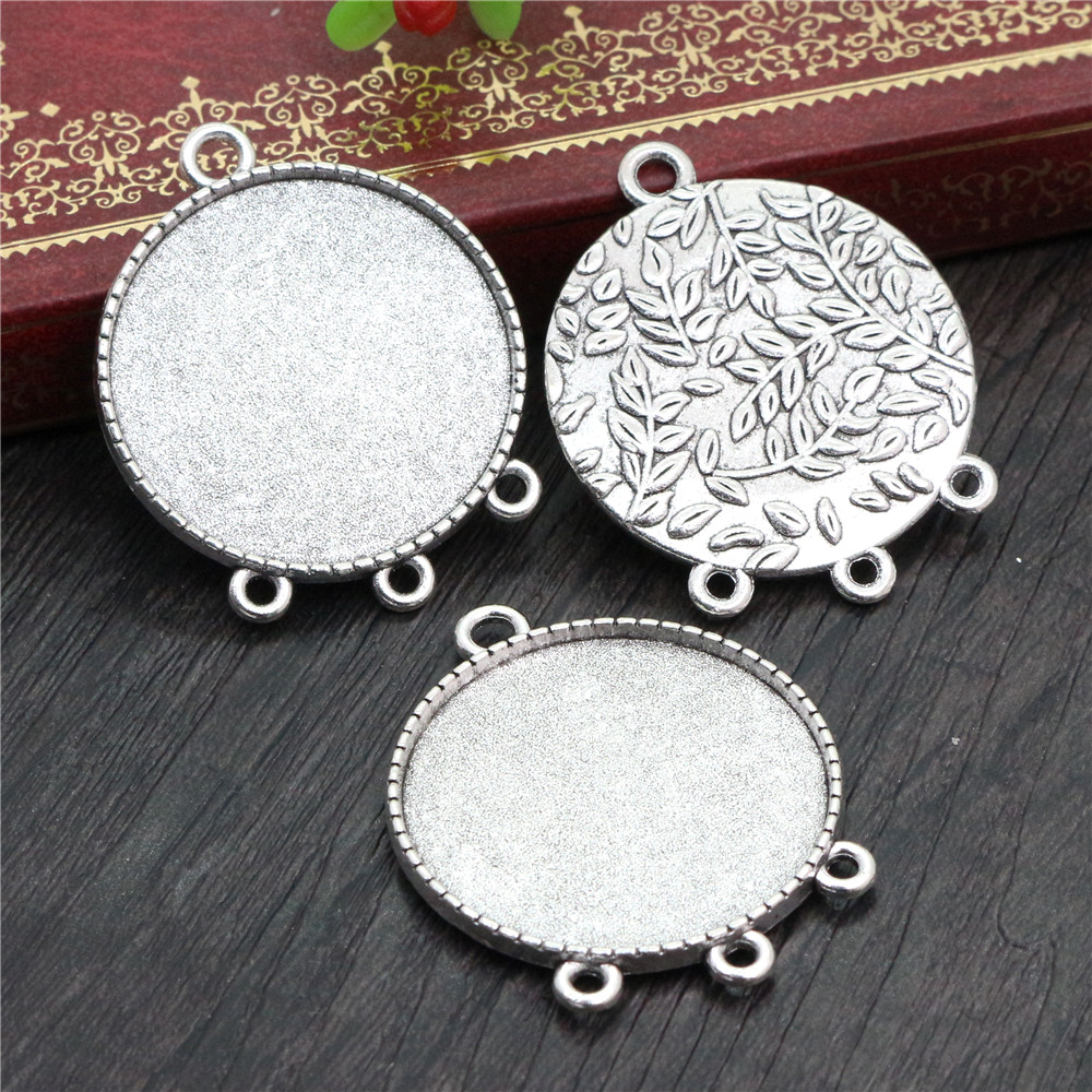 5pcs 30mm Inner Size Antique Silver Plated Classic Style Cabochon Base Setting Charms Pendant (B5-12)