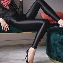 DROZENO 2020 Sexy Shiny Satin Leggings Pants Shiny Glitter Stockings Japanese Ankle-Length Pants High Waist Tights Women