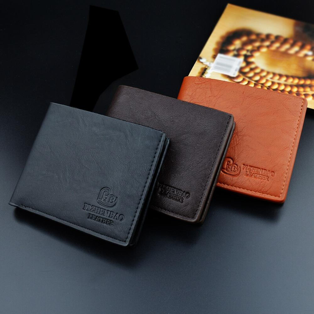 PU Leather Mens Wallet Two-fold Multi-card Position Wallets For Man Solid Color Short Walet