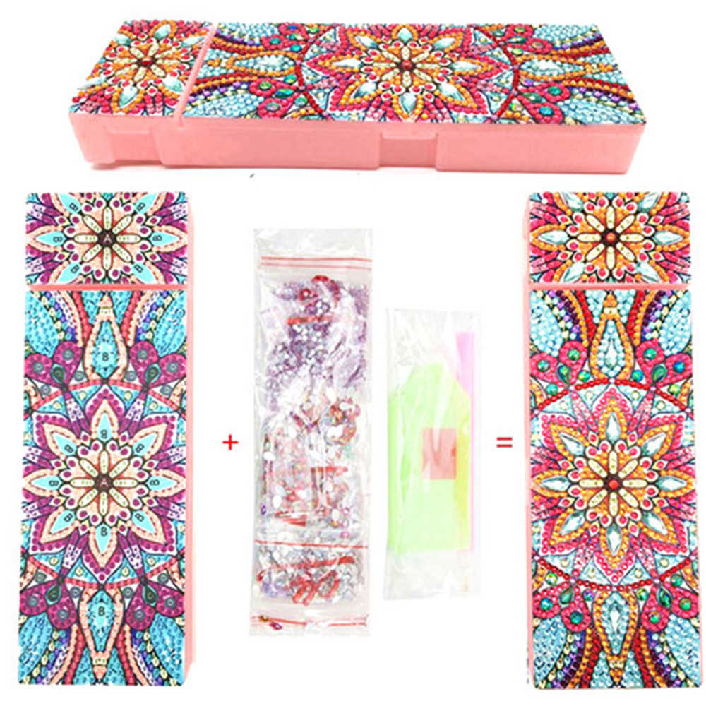 HUACAN Mandala Flowers Diamond Painting Stationery Box New Arrival Diamond Embroidery Pencil Case Child Gift