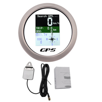 85mm Speedometer With GPS Antenna TFT Screen For Marine Boat Yacht Waterproof Odometer Adjustable Trip ODO COG Voltmeter 9-32V 1pc new type 0 8000rpm tachometer gauges modification 85mm lcd revolution meters 9 32v rev counters with hourmeter for auto boat