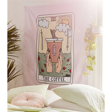 Coffee Tarot Tapestry Wall Hanging Wine Cat Witchcraft Ouija Large Wall Tapestry Mandala Fabric Boho Decor Wall Cloth Tapestries astoral green plant picture cactus mandala printed tapestry wall hanging decorative large polyester fabric boho decor ouija
