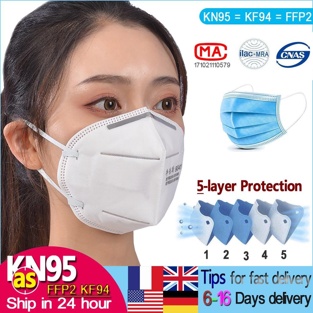 KN95 FFP2 FFP3 Mask Protective Hygie KF94 N95 Disposable Filter Masks 5 Layer Of Virus 96% CE Certification Hygiene Face Mask