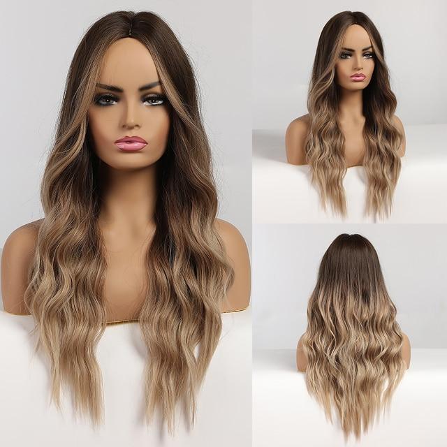 Uzun dalgalı Ombre kahverengi peruk sarışın vurguları ile sentetik peruk Afro kadınlar için orta kısmı isıya dayanıklı Cosplay doğal peruk