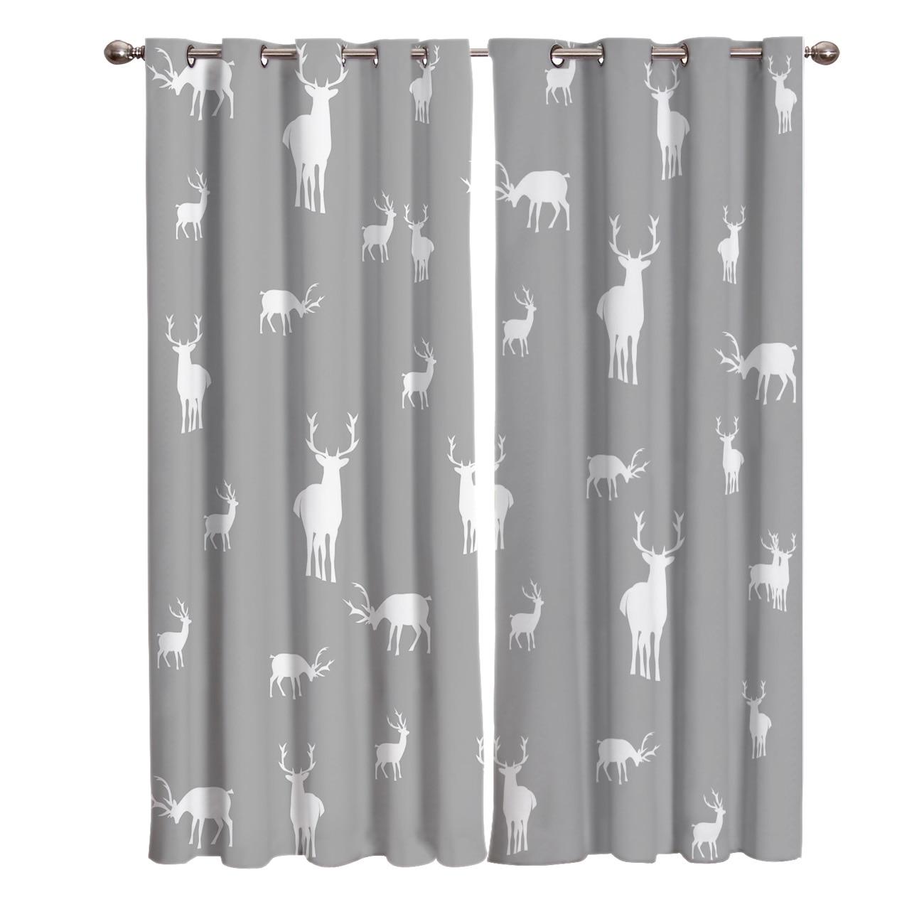 Us 13 62 35 Off Christmas Gray Deer Room Curtains Large Window Curtain Lights Living Room Bathroom Indoor Floral Window Treatment Valances On